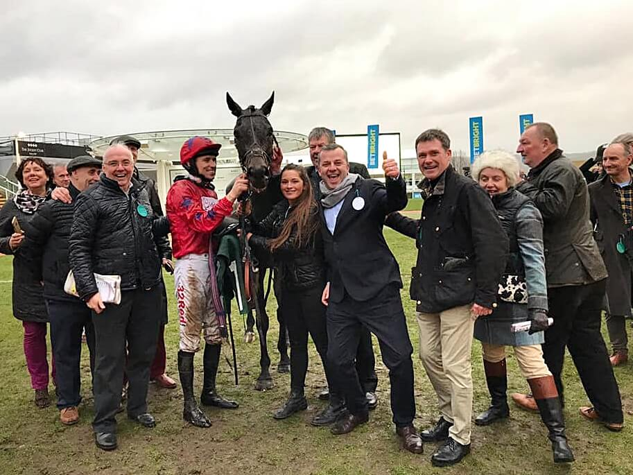 Bennys Bridges In the Winners enclosure Cheltenham | Biddestone Racing