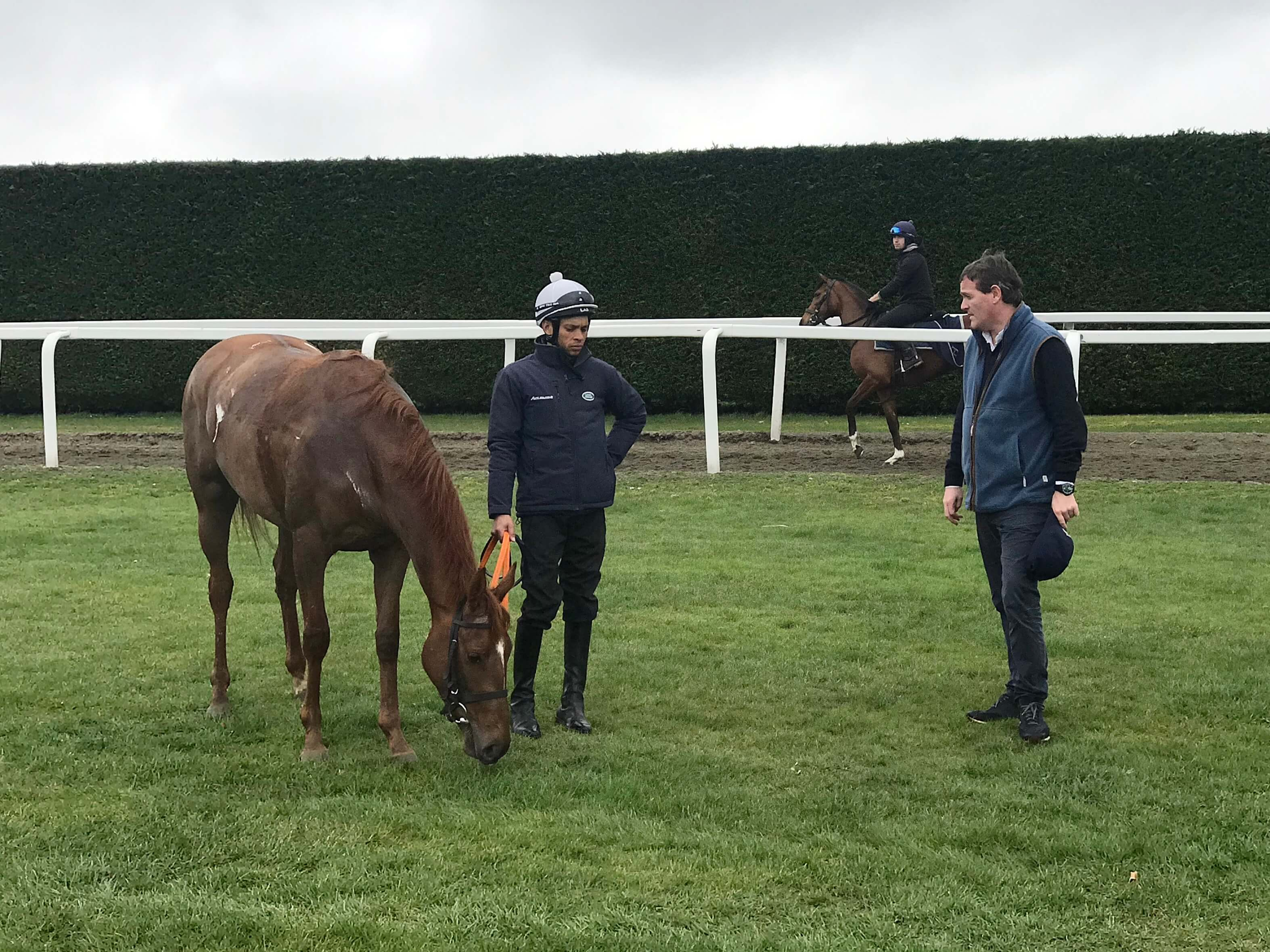 Lope De Vega filly with Sean Levey and trainer Richard Hannon 19 March 2019