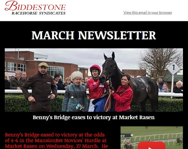 Biddestone Racehorse Syndicates March 2019 Newsletter